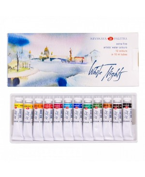 Akvarelinių dažų rinkinys Belye noči tūbelėse, 12 spalvų