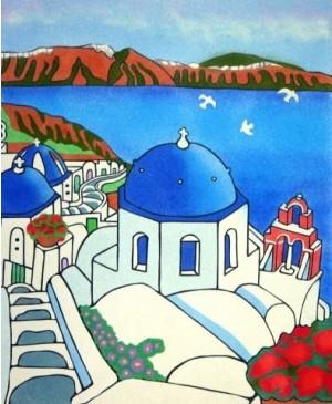 Eskizas smėlio tapybai Santorini 50x61cm