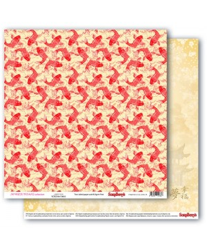 Skrebinimo popierius Japanese Dreams - Lucky Koi 30.5x30.5cm, 190g/m2, 1vnt.