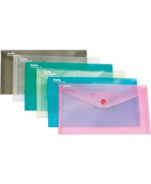 Plastikinis skaidrus vokas su spaustuku Patio, DL, mėlynas